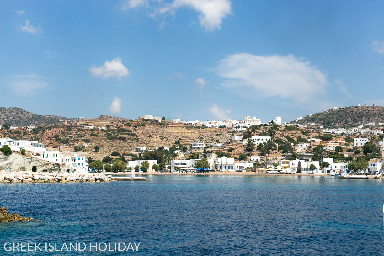 Greek Island Holiday blog arriving at Psathi port on Kimolos by ferry
