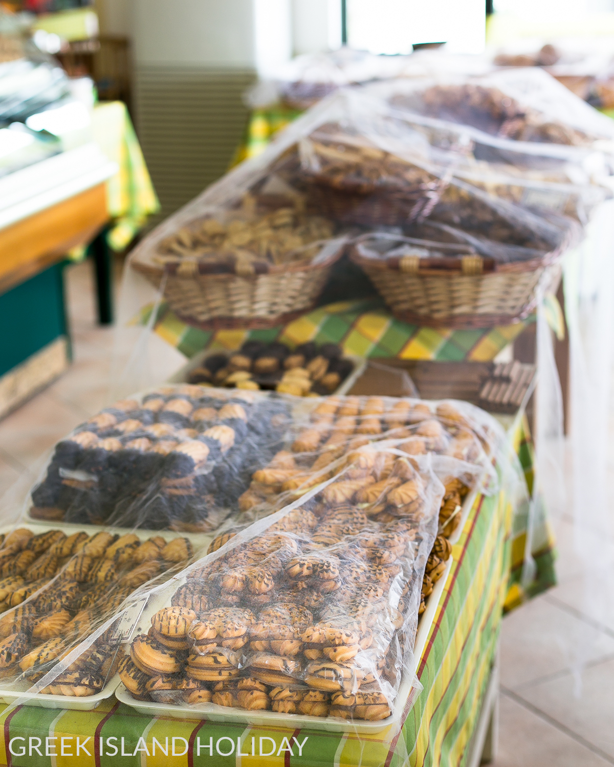 Greek Island Holiday | biscuits on offer at Mouratos Bakery on Milos